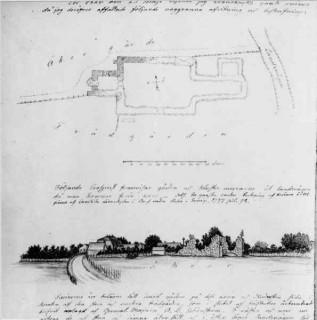 68, Kronobäcks gamla kungsgård med kyrkoruinen samt planritning. Foto efter teckning av Nils Isak Löfgren, foto Nils Lagergren