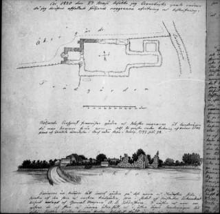 83, Klosterruinen samt planritning. Foto efter Nils Isak Löfgren, Kalmar stift, ATA
